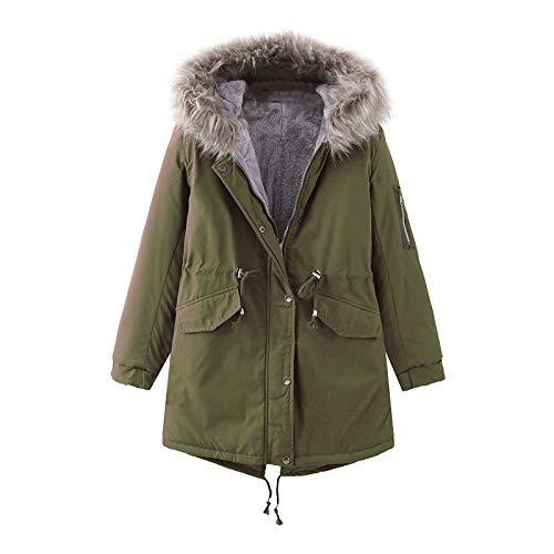 Dasongff Abrigo de invierno para mujer, parka de invierno con pelo sintético desmontable, chaqueta de invierno, trenchcoat de entretiempo, chaqueta de rizo con capucha
