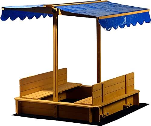 Sandkasten aus FSC-Holz, Dach höhenverstellbar und neigbar mit UV 801-Schutz inklusive Bodenplane, 120 x 120 x 120 cm cm