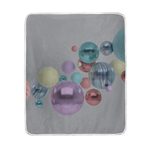 "Throw Blanket 3D Rendering Floating Polished Blue Pink Soft Blanket Warm Plush Blanket for Sofa Chair Bed Office Gift Best Friend Women Men 50""x60"" Light Fleece Blanket"