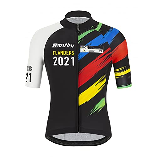 Santini Tono UV – S/S Jersey Splashes Design Flanders 2021 Maglia Sport, Maglia, EC94075CSPLA, Bi (Bianco), XXL