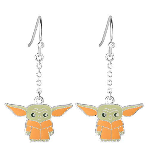 Disney Star Wars The Mandalorian The Child Silver Plated Dangle Earrings, Official License