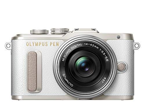 Olympus PEN E-PL8 Kit, Cámara de Sistema Micro Cuatro Tercios (16,4 MP, Estabilizador de Imagen de 5 Ejes, Visor Electrónico, FHD Vídeo) + Objetivo M.Zuiko 14-42mm EZ, blanco/negro