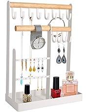 Qulable Organizador de joyas para colgar, collar, pulsera, armario organizador de almacenamiento de pendientes, soporte de accesorios con perchas