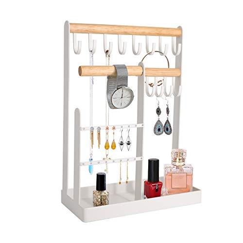 Qulable Organizador de joyas para colgar collares, pulseras, guardarropa, pendientes, accesorios con colgadores, Madera de bambú,