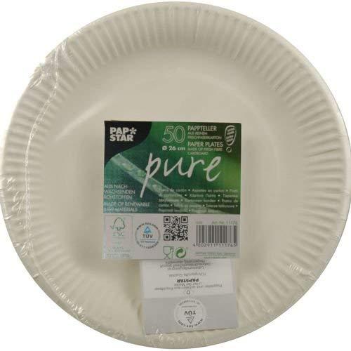 Papstar Pappteller / Grillteller, weiß (50 Stück), aus Frischfaser-Karton, extra stark, Durchmesser 26 cm, umweltfreundlich, für Küche, Haushalt und Gastronomie, #11176