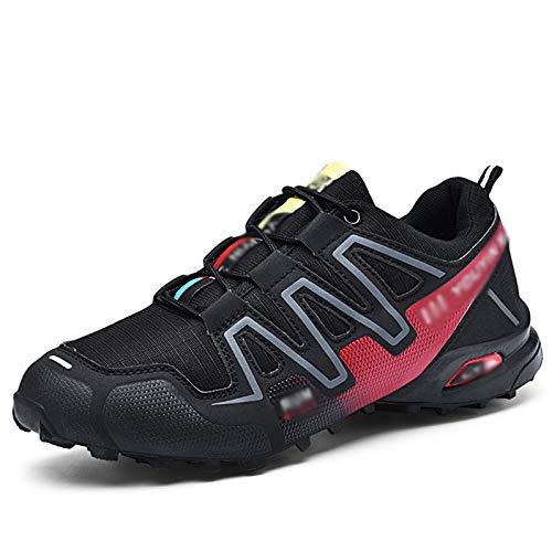 LEIKEI Hombres Entrenamiento Zapatillas para Correr Acampar al Aire Libre Zapato de montañismo Trekking Zapato de Turismo Ligero Calzado Deportivo de Gran tamaño para Caminar,Black-47