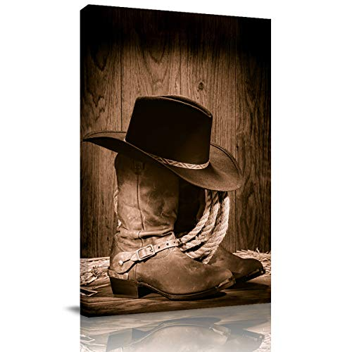 Canvas Print Wall Art Western Cowboy Black Hat ATOP Boots Picture Painting Modern Giclee Framed Artwork for Office/Livingroom/Bedroom Decor 12x8in