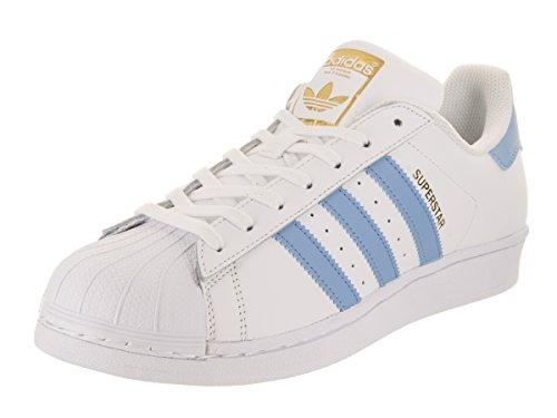 Adidas Superstar Foundation J Unisex Kinderschuhe, Gymnastik, Weiß - Weiß/Hellblau-Gold - Größe: 41 1/3 EU