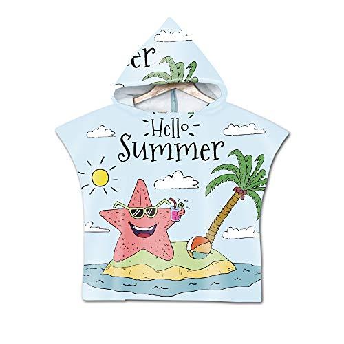 Stillshine Grote Strandhanddoek Poncho Zwemmen Microvezel Strandhanddoek Volwassen Kinderen Poncho Hooded Deken voor Surfen Zwemmen Reizen Wetsuit Verwisselen, Strand Zwemkleding Badhanddoeken