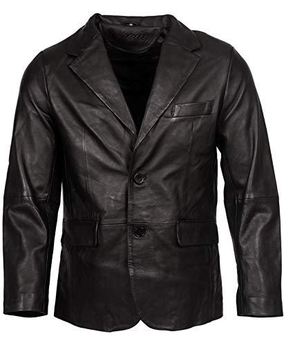 Infinity Leather Herren Klassisch Zugeschnitten 2 Taste Schwarz Blazer Weich 100% Lamm Lederjacke XL