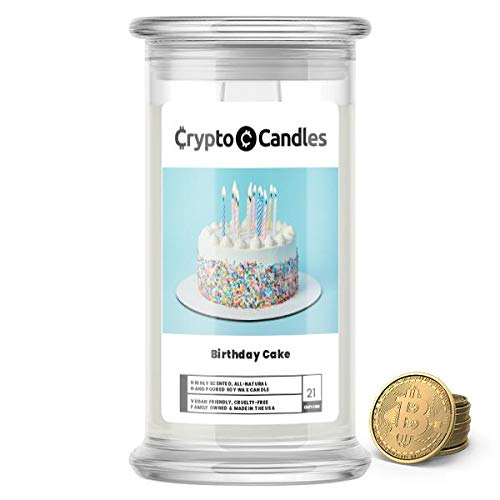 Jewelry Candles | Crypto Candle Collection | Bitcoin Token Inside | Guaranteed $5 in Real Bitcoin Value | 21oz USA Made | Birthday Cake