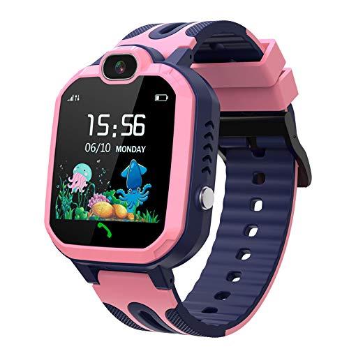 Flytise Y52 Kids Smart Watch 1,44 Zoll Touchscreen LBS SOS-Anrufspiel Voice-Chat-Kamera IP67 wasserdichte Armbanduhr für Jungen Mädchen