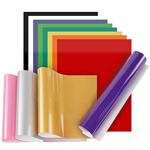 Plotterfolie Textil - 12 Farbe Flexfolie Plotter Textil, Heat Transfer Vinyl für Cricut & Silhouette Cameo für Heiße Presse oder Haushaltseisen auf T-Shirts & Stoffe (30.48cm x 20.32cm)