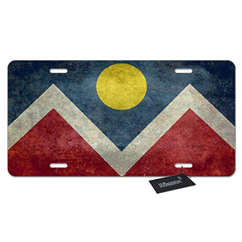 WONDERTIFY License Plate Vintage Flag of Denver City Colorado American Decorative Car Front License Plate,Vanity Tag,Metal Car Plate,Aluminum Novelty License Plate,6 X 12 Inch (4 Holes)