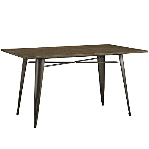 wood and metal dining table - 4