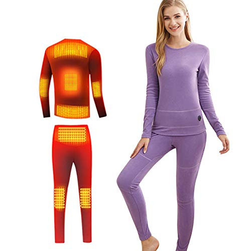 LGZY Beheizte Thermo-Unterwäsche für Ms Winter Waschen, weiche Heizung, Baselayer Kleidung, USB wiederaufladbar & Temperatur anpassen, für Laufen, Skifahren, Radfahren, Geschenk für Frau, Anzug, S