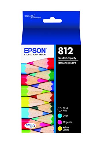 EPSON T812 DURABrite Ultra Ink Standard Capacity Black & Color Cartridge Combo Pack (T812120-BCS) for Select Epson Workforce Pro Printers