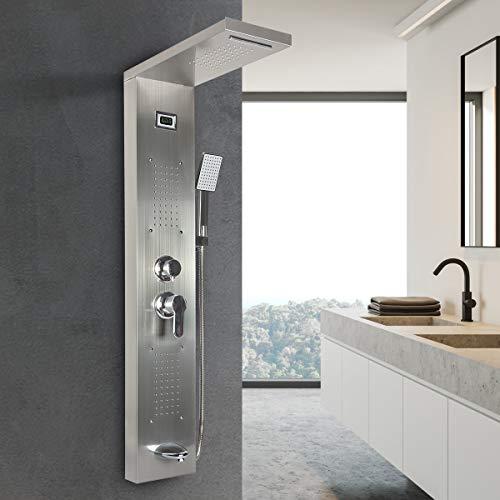 Duschpaneel, Duschsäule Fünf Wasseraustritt Methoden, Edelstahl Wasserfall Regendusche Massagedüsen Mit Temperatur-Digitalanzeige