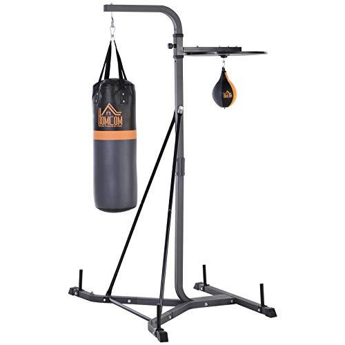 homcom Sacco da Boxe con Stazione Multiuso Regolabile e Punching Incluso (104 x 156 x 202 cm) per Allenamento Total Body
