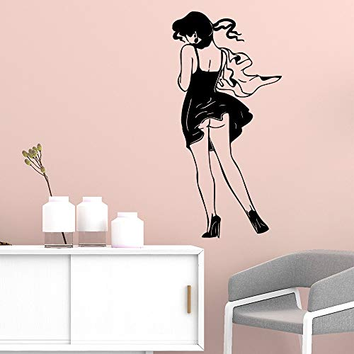 Diversión hermosa chica pegatinas de pared calcomanías artísticas para sala de estar habitación de niños decoración de fiesta en casa papel tapiz A9 88x42cm