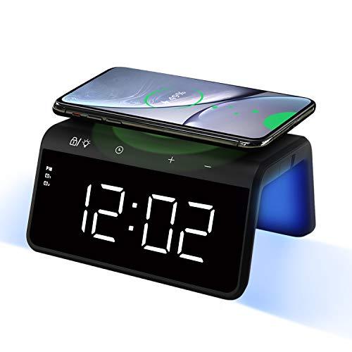 Pointuch Wireless Charger mit Wecker Digital, Qi Induktive Ladestation, Buntes Nachtlicht, USB-Ladeanschluss, 2 Alarmen Snooze, 4 Helligkeit LED Uhr, Qi kabellosem Ladegerät für iPhone Samsung