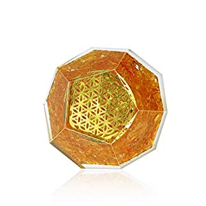 Citrine Orgone Dodecahedron for Manifest Abundance   Bring Wealth and Success Orgone Energy Generator