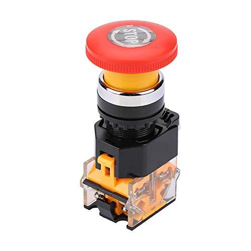 Botón de interruptor de emergencia, funcionamiento estable Botón pulsador de parada de emergencia duradero y resistente para circuitos eléctricos