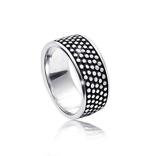 MATERIA Damen Herren Ring antik mit Punkten 925 Silber breit massiv 6,1g deutsche Fertigung #SR-109, Ringgrößen:57 (18.1 mm Ø)