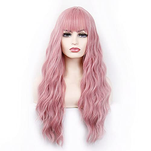 Long Wig With Air Bangs Women's Long Fluffy Curly Wavy Wigs Synthetic Cosplay for Girl Colorful (pink)