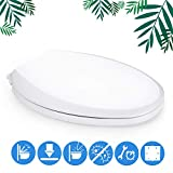 Elongated Toilet Seat, Dalmo DBTS01S Toilet Bowl Seat Plastic with Non-Slip Seat Bumpers, Slow-Close Elongated White...