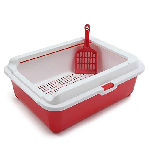 HONGFEISHANGMAO Cat Box Pet Supplies Cat Litter Tray Toilet Bedpan with Cat Shovel Double Design Home Plastic Sandbox for Kitten and Puppy Teddy Rabbit Puppy Cat Furniture (Color : Red)