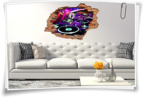 Medianlux 3D Wand-Bild Wand-Tattoo Wand-Aufkleber DJ Musik Mischpult Party Event Disko Aufkleber Folie Digitaldruck, 90x60cm