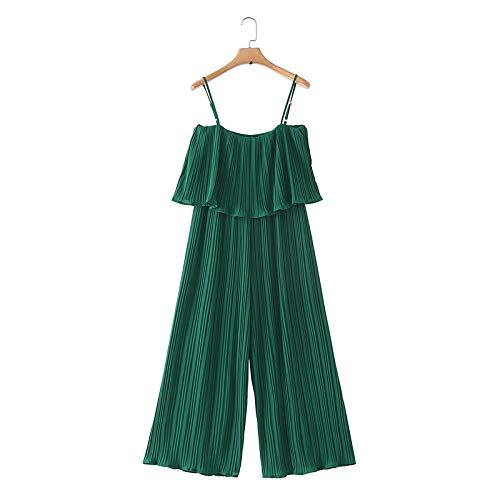 Monos Plisados de chifón Verde de Las Mujeres Volantes de Cintura elástica sin Mangas Mamelucos sin Espalda Monos Elegantes Femeninos sólidos