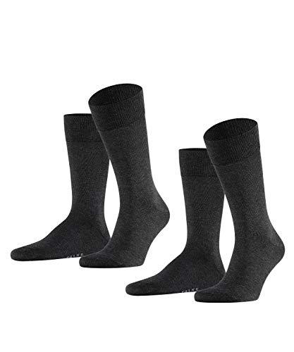FALKE Happy 2-Pack Herren Socken anthra.mel (3080) 39-42 Baumwollstrumpf für jedes Outfit