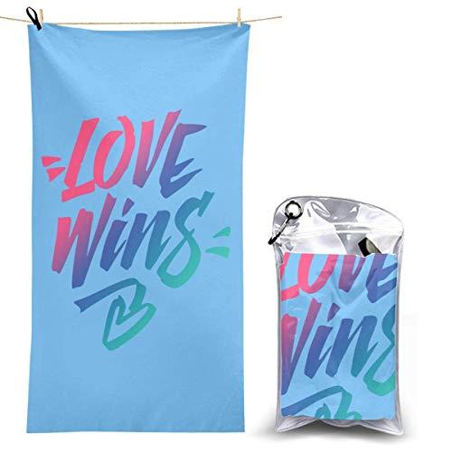 XCNGG Toalla de Playa de Microfibra, Love Wins Manta de Toalla de Secado rápido y rápido Toallas de baño Ligeras y absorbentes Suaves sin Arena para Playa, baño, natación, Viajes