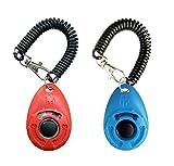 OYEFLY Clicker para Adiestramiento Perro, 2 Piezas, Multicolor para la Muñeca para Perro Gato Caballo Training Clicker de adiestramiento para Perros Clicker con Correa (Rojo y Azul)