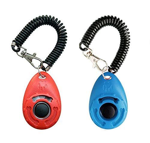 OYEFLY Hunde Clicker, Klicker mit Großem Knopf,2 Stück Hunde Klicker Set für Hundetraining Hundeerziehung Auch für Katzen Pferde (Rot Blau)