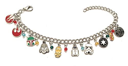 Giulyscreations - Pulsera de Star Wars, Star Wars, Star Wars, inspirada en metal, níquel libre, The Last Jedi Ultimo Luke Skywalker Millennium Falcon Yoda Darth Vader Cosplay