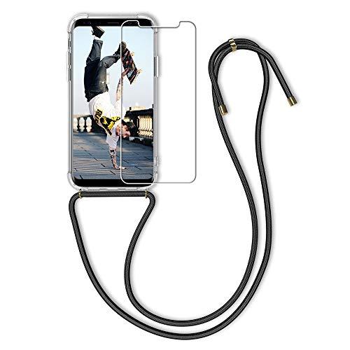 MICASE Handykette kompatibel mit Huawei Honor View 10 Hülle + Panzerglas Schutzfolie, Mode Smartphone Necklace Handyhülle mit Kordel Transparent Lanyard Case Stoßfeste - Schwarz
