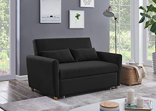 Modern Contemporary Space Saving Comfortable 2 Seater Sofa Bed Furniture Folding Easy Pull Out Full Size Double Bed BLACK Fabric Thick Foam Cushions Settee Couch Pull-Out Sofabed