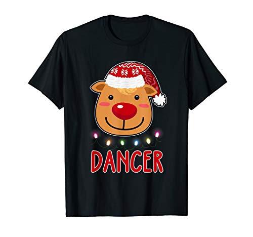 Team Dancer Santa's Reindeer Dabbing Christmas Gift T-Shirt