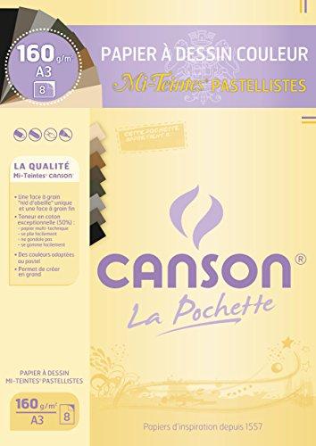 Canson Mi-Teintes-Papel de dibujo A3, 29,7 x 42 cm, diseño de hojas, color Pastellistes A3-29,7 x 42 cm