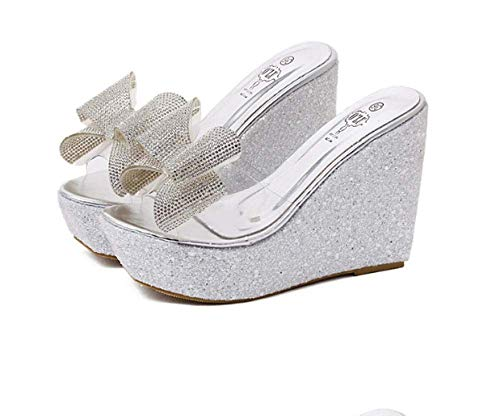 FYSY Peep Toe Slip On Zeppa Bassa,Strass zeppa sandali e pantofole,Bowknot piattaforma pantofole-argento_40,Quick Drying Open Toe House Shoes fangkai77