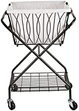 Artesa Verona Collapsible Metal Laundry Cart with Removable Basket & Canvas Bag, 20.5