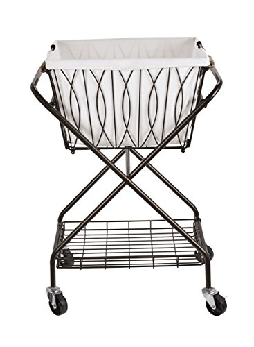 Artesa Verona Collapsible Metal Laundry Cart with Removable Basket & Canvas Bag, 20.5' L x 16.2' W x...
