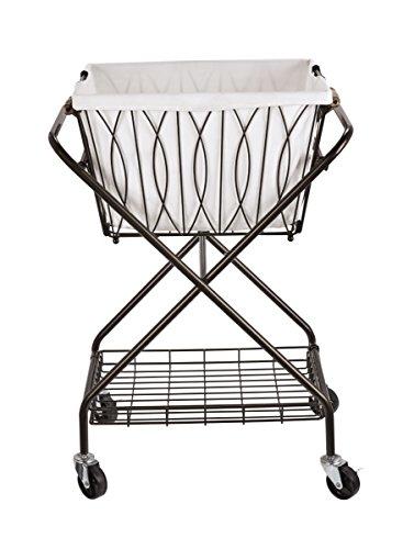 Artesa Verona Collapsible Metal Laundry Cart with Removable Basket & Canvas Bag, 20.5