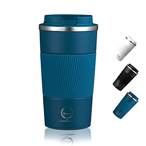 Coffee Tumbler Insulated Coffee CupStainless Steel Coffee Tumbler for Women Coffee Thermos Travel Mug with Lid for Men Christmas New year birthday gifts Reusable Coffee Tea18oz Blue