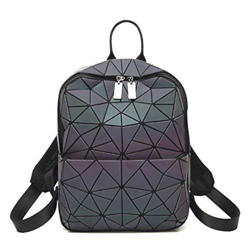 Hot One Handtasche Damen Geometrische Reflektierende Umhängetasche Geldbeutel Damen Taschen Set Rucksackk (Leuchtend Rucksäcke Nr.3)