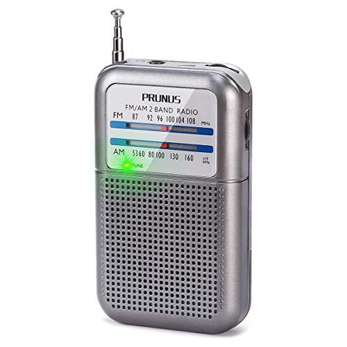 PRUNUS Kleines Transistorradio FM/AM-Taschenradio, Mini Radio mit AAA-Batterie betrieben zum Spazierengehen, Joggen und Camping.