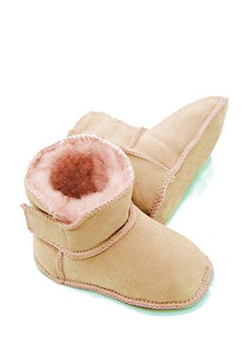 DX-Exclusive Wear Lammfellschuhe Babyschuhe, Stiefel, Klettverschluss, Echt Fell Schuhe Krabeln, Hausschuhe Baby ADB-0001 Madchen, Jungen, Leder (20/21, rosa)